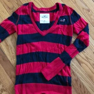 Hollister Ladies red/navy stripe sweater Size M